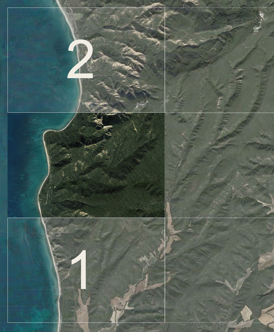 Showing how to define degrees of detail required for the finished texture that would be applied to the vector landscape. Areas 1 and 2, for example needed relatively little Photoshop work, having derived the source material from satellite imagery. However the central area, where most of the content would be presented required much more detailed texturing.