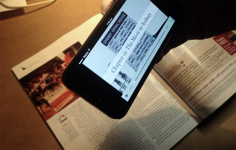 The Viewa app scans the page to trigger a video edition of chapter 13 of The Opera House Project