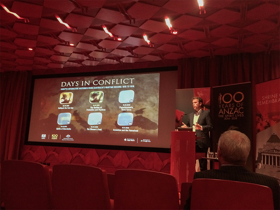 The Hon Dan Tehan MP launching Days in Conflict Series app, The Battles of Fromelles and Pozières.